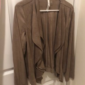 Ny collection faux suede cascade jacket size m